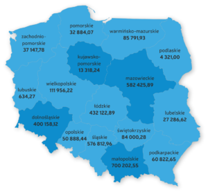 Łączna wartość zadłużenia biur podróży w podziale na województwa – stan na 01.06.2016 r