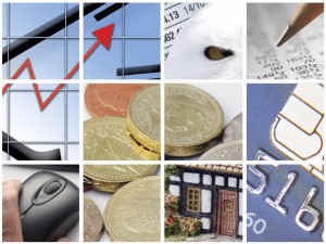 Composite photograph of images based on a financial theme