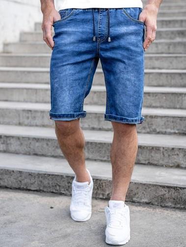 Jeansowe spodenki męskie na gumie i z wiązaniem w pasie